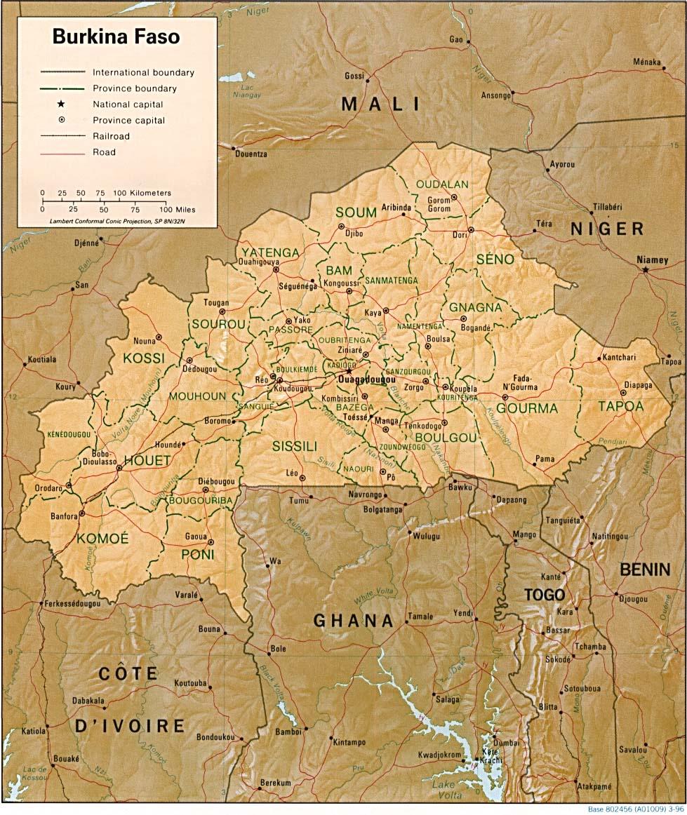 Carte Afrique Burkina Faso.Carte Burkina Faso Carte De Burkina Faso