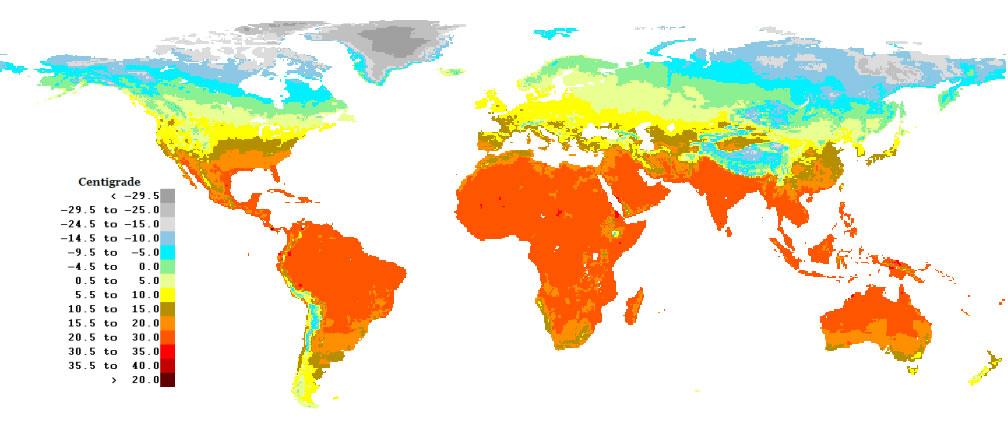 Carte des températures, la Carte des températures