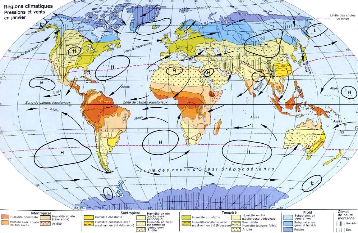Carte des pressions et vents, la Carte des pressions et vents