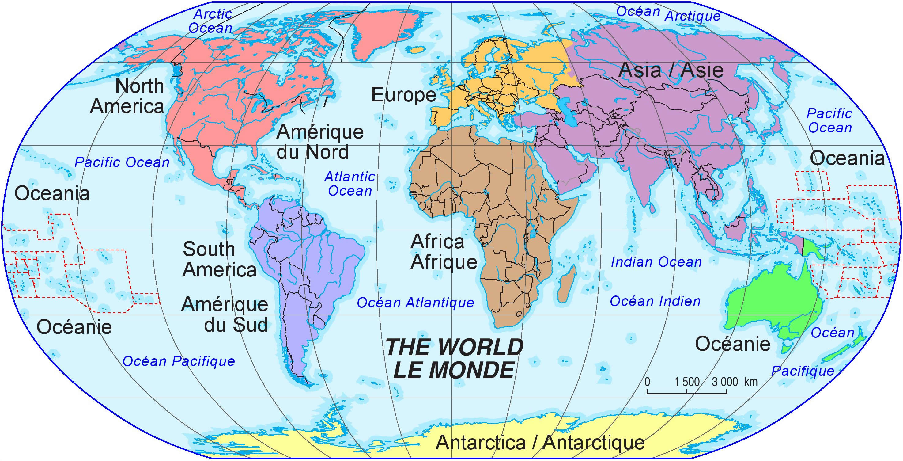 carte du monde continents - Photo