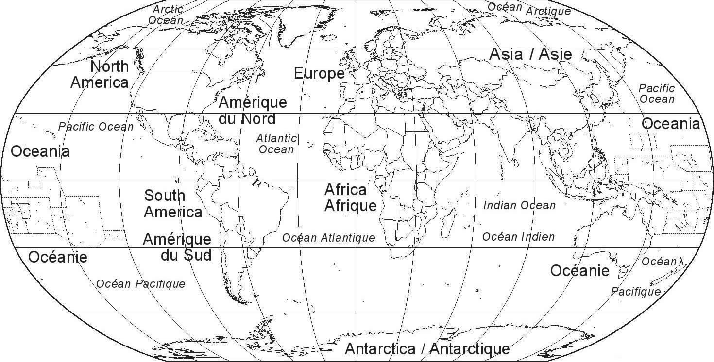 mappemonde vierge nom continent