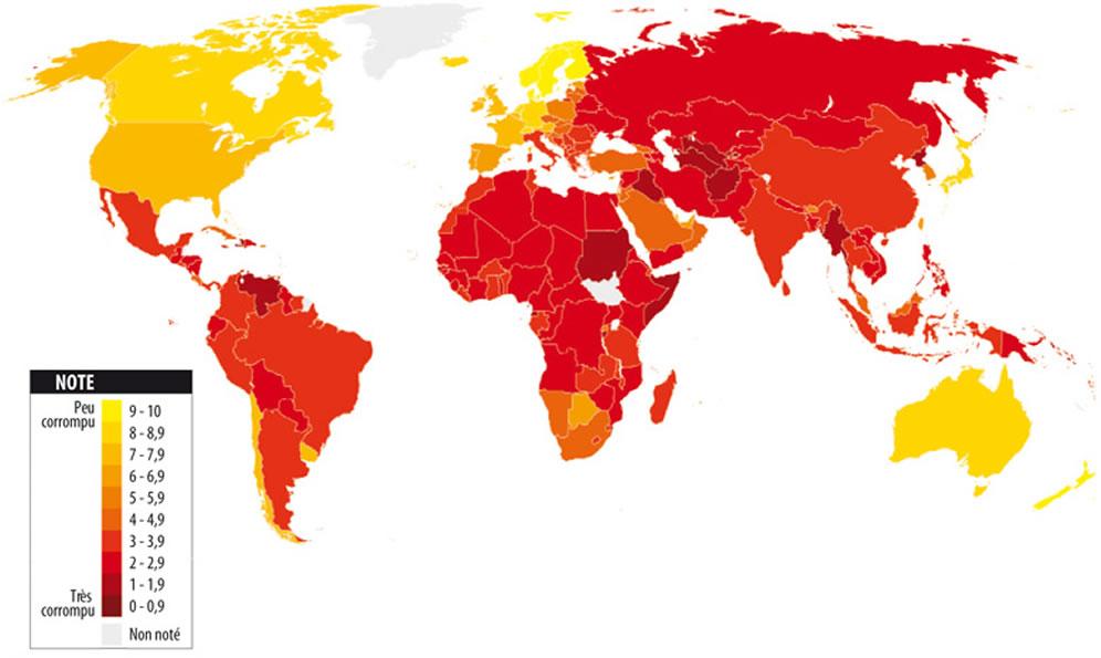 Carte corruption monde, la Carte corruption monde
