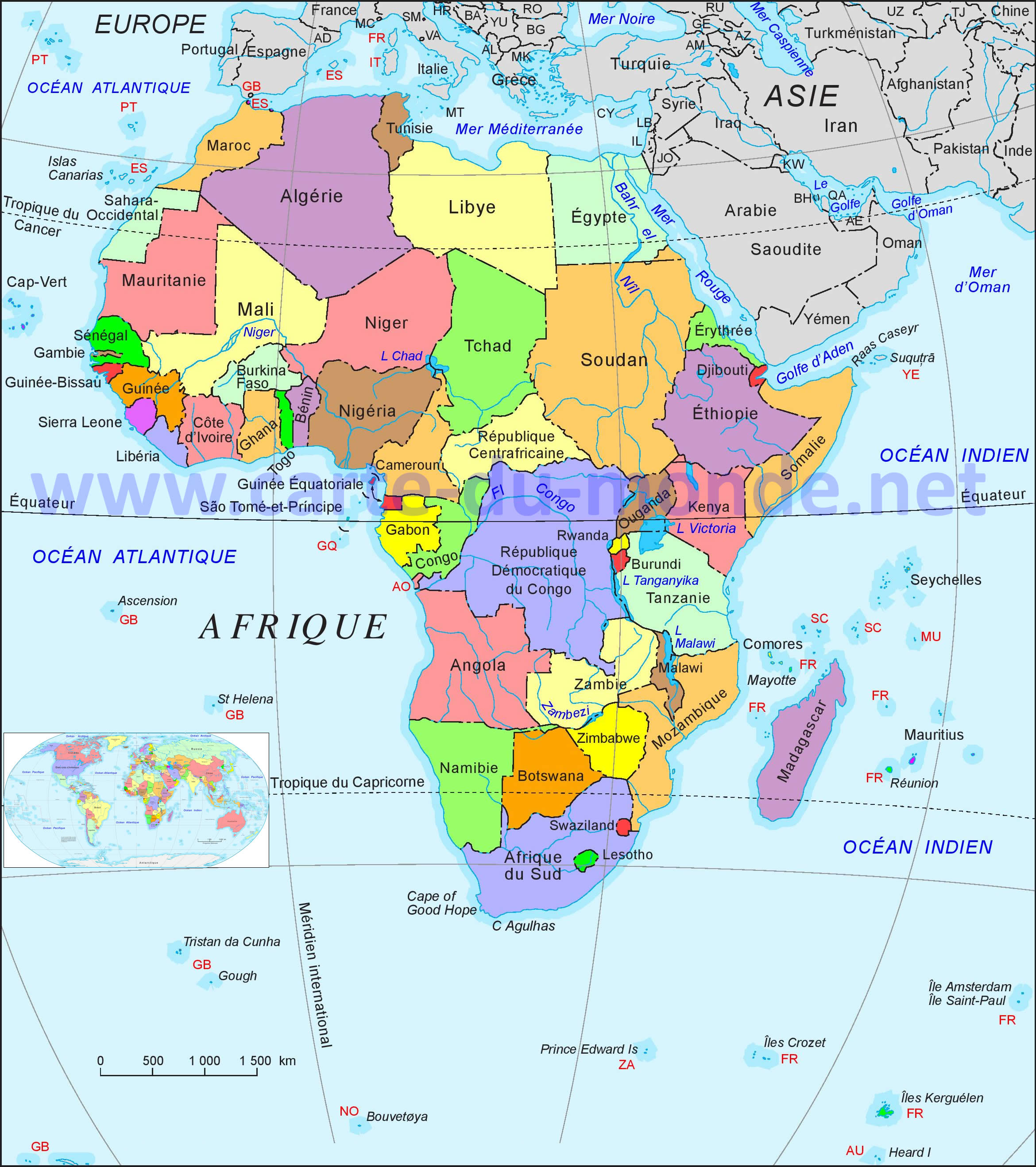 Favori Carte Afrique, Carte du monde DR88