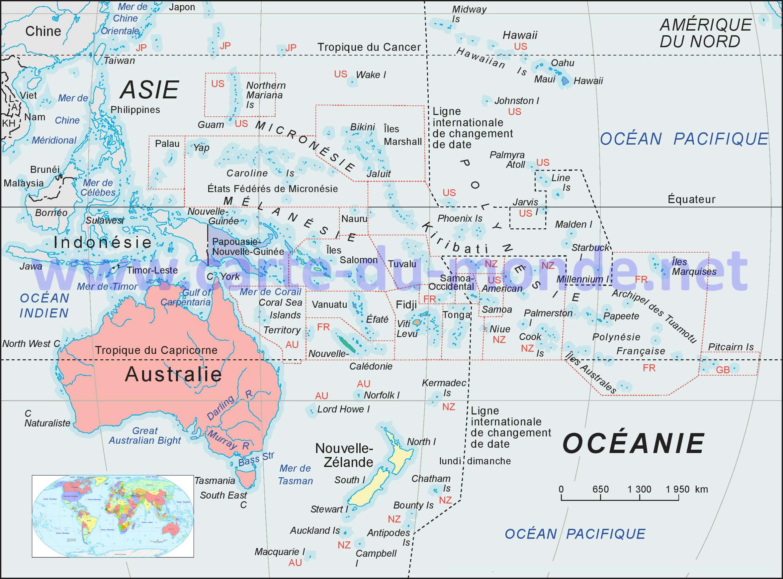 carte de l océanie Carte Océanie, Carte du monde