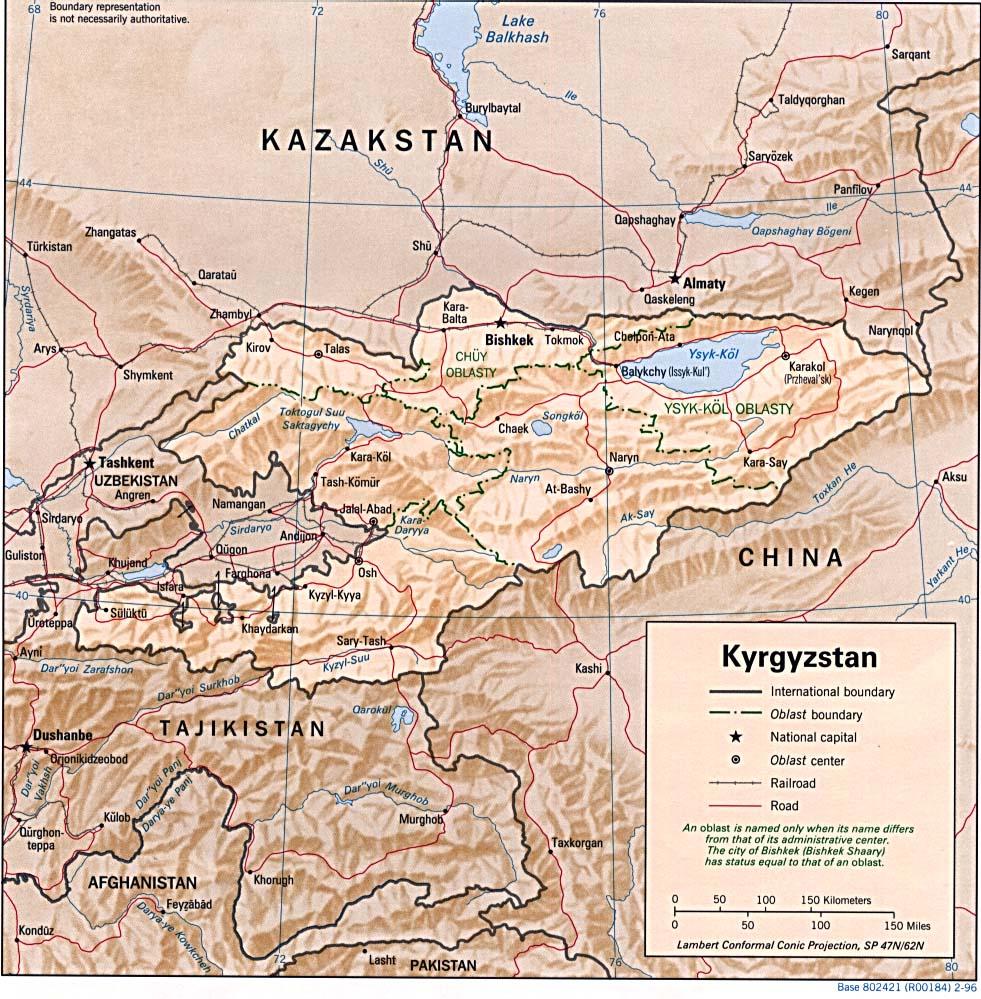 Carte Kirghizstan, Carte de Kirghizstan