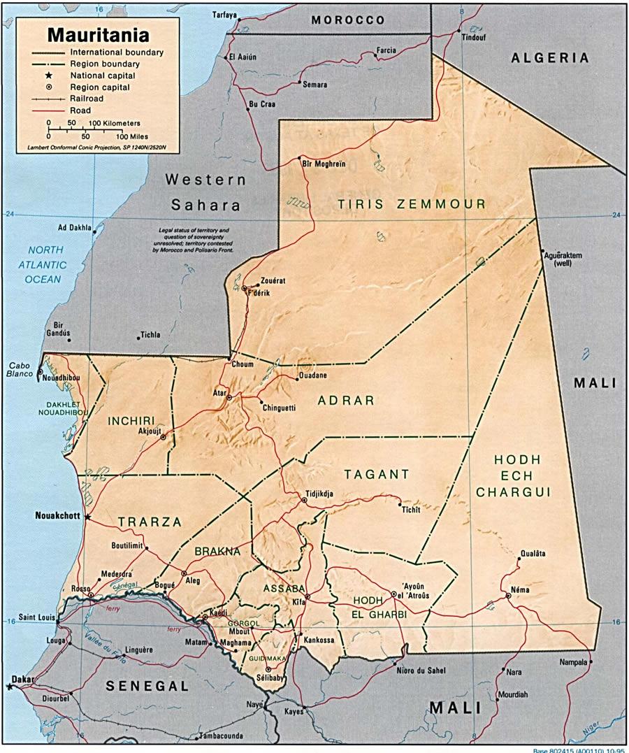 Carte Mauritanie, Carte de Mauritanie