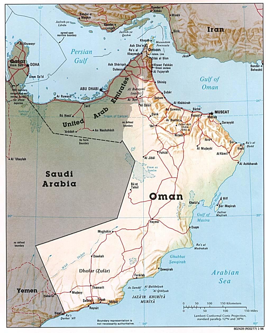 Carte Oman, Carte de Oman