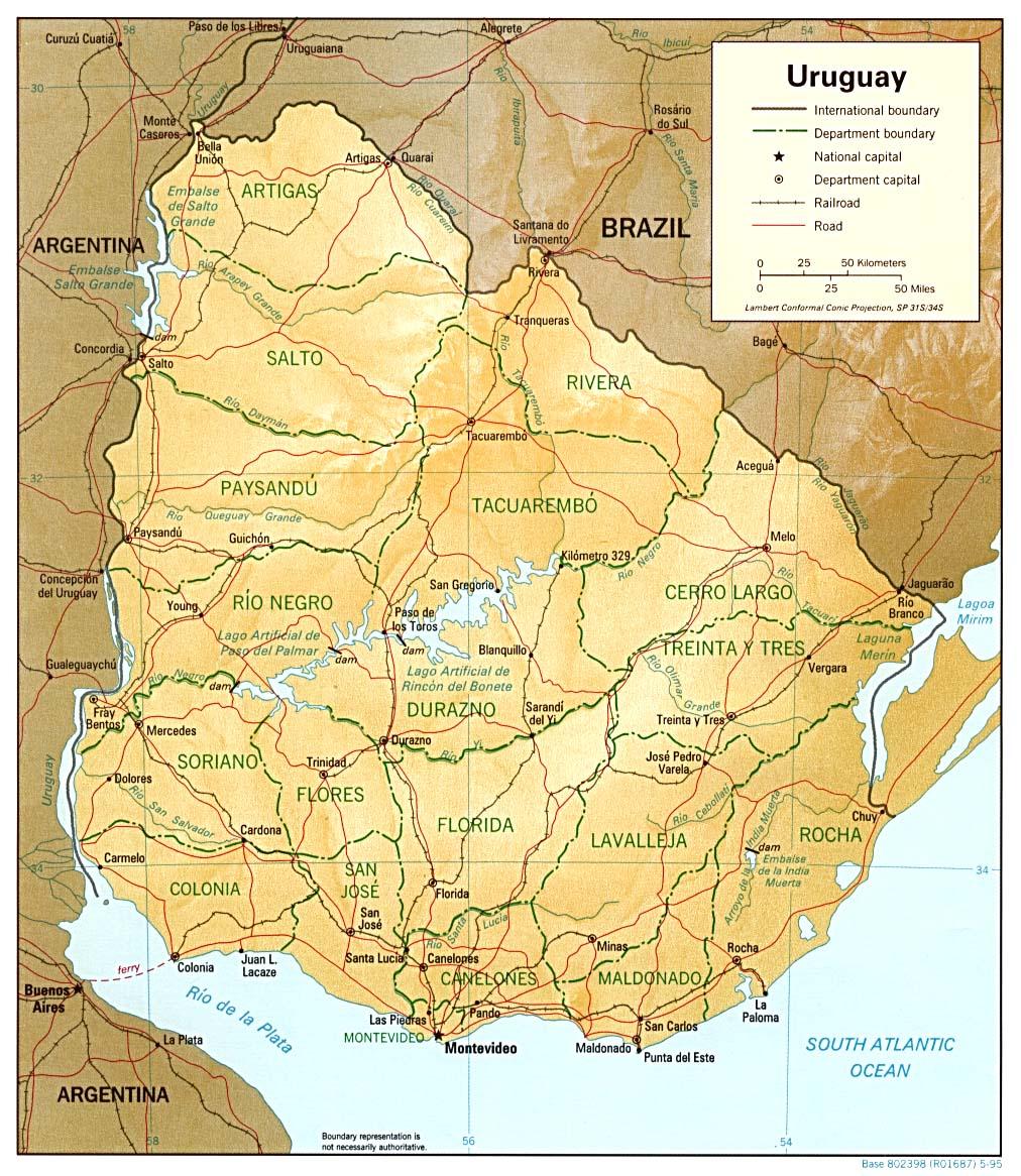 Carte Amerique Latine Uruguay.Carte Uruguay Continent Amerique Du Sud Amerique
