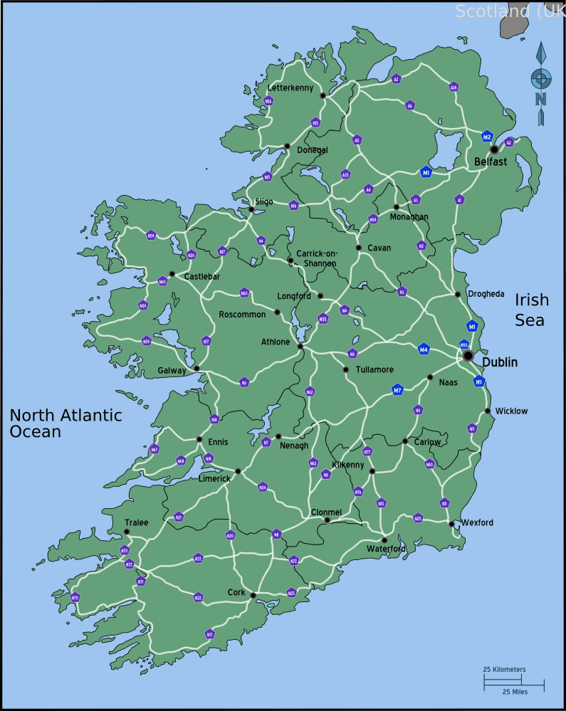 Carte routière Irlande, Carte routière de Irlande