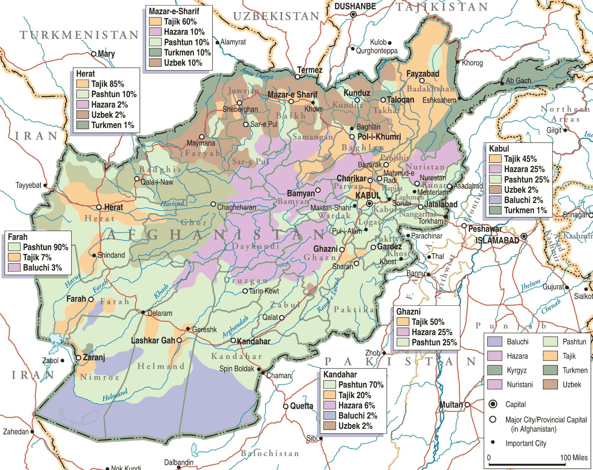 Carte population Afghanistan, Carte de la population de Afghanistan
