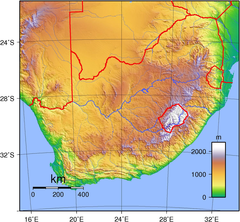 Carte Topographique Amerique Du Sud.Carte Topographique Afrique Du Sud Carte Topographique De