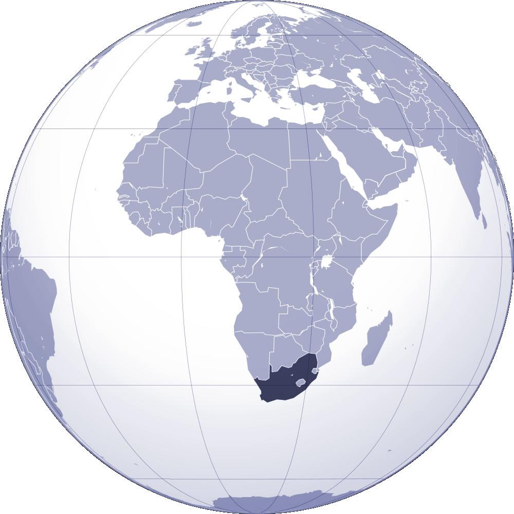 afrique du sud sur la carte du monde
