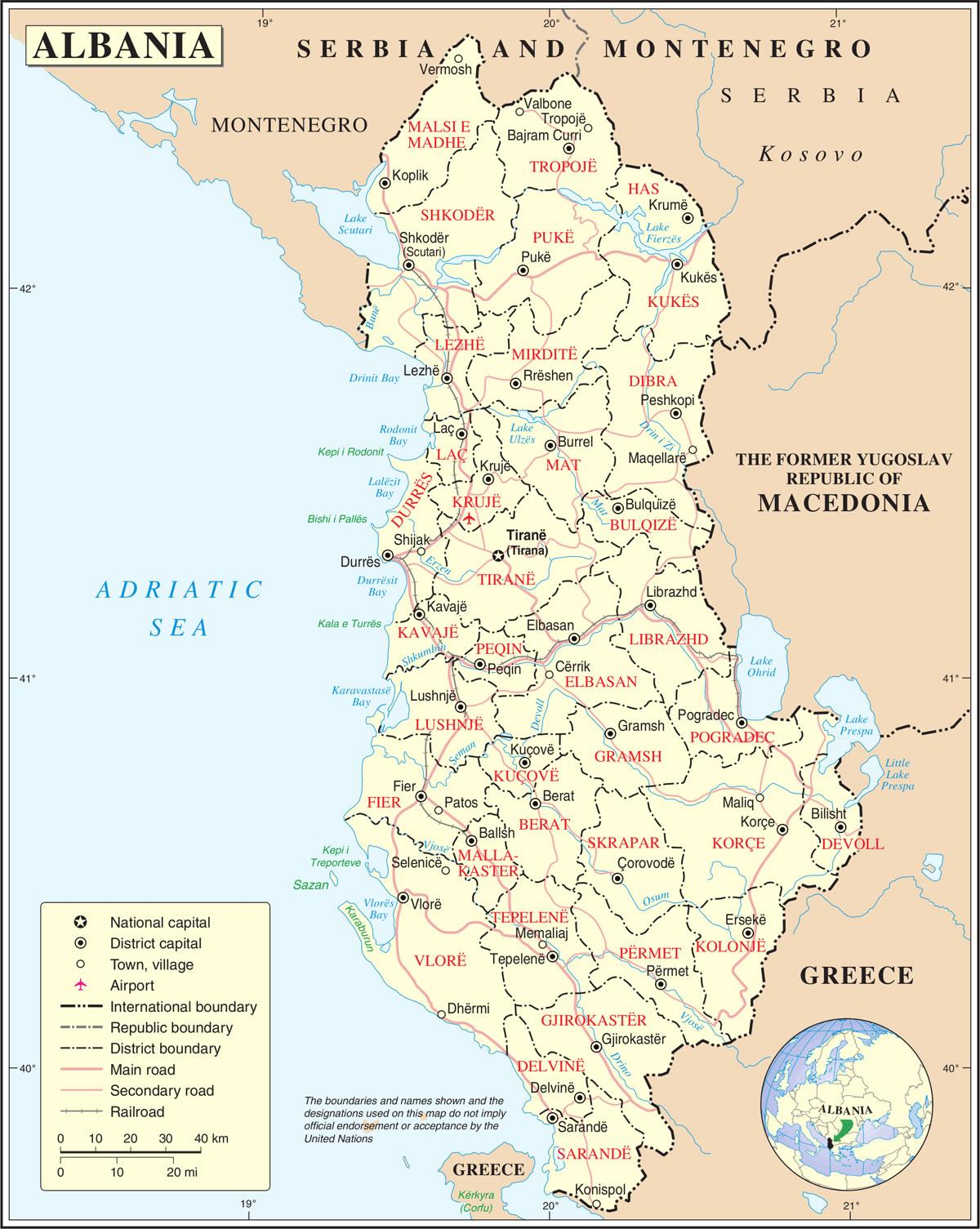 Grande carte Albanie, Grande carte de Albanie