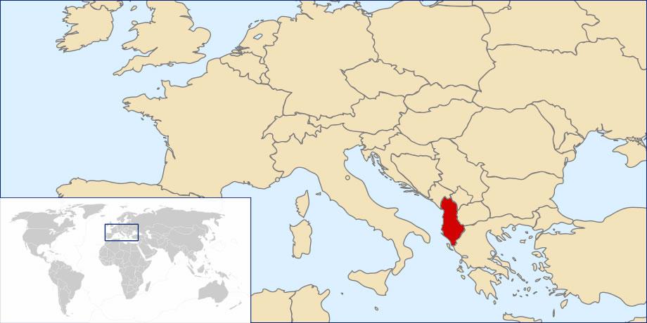 Situer Albanie sur carte du monde, Situer pays de Albanie sur