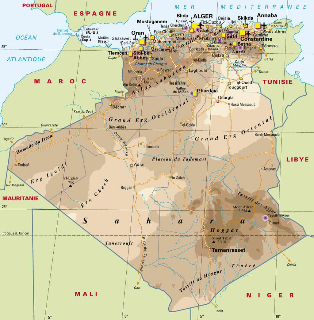 Carte Algerie Aeroports.Carte Ville Aeroport Algerie Carte Des Villes Et Aeroports