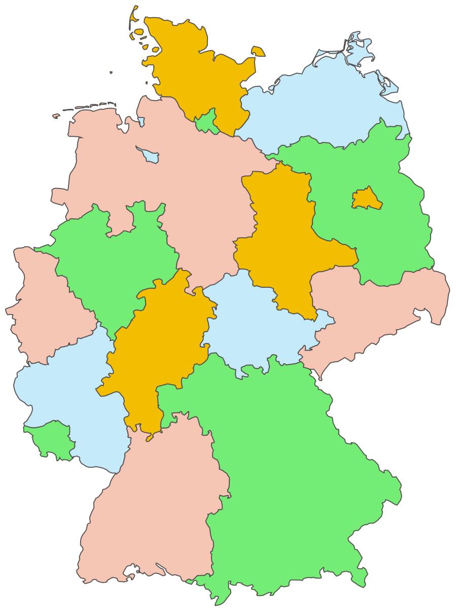 Carte Allemagne Vierge Villes.Carte Allemagne Vierge Regions Carte Vierge Des Regions De