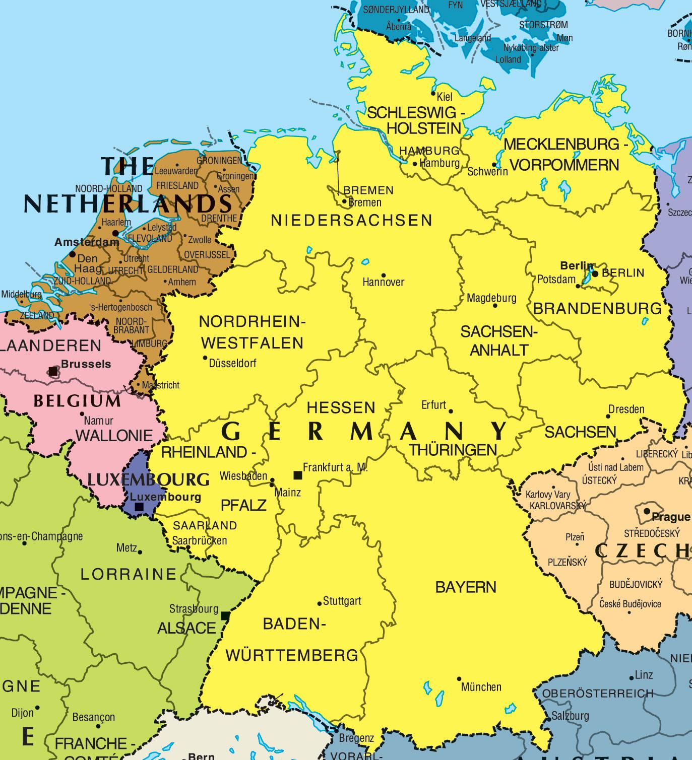 Carte Du Monde Allemagne.Carte Frontieres Allemagne Carte Des Frontieres De L Allemagne