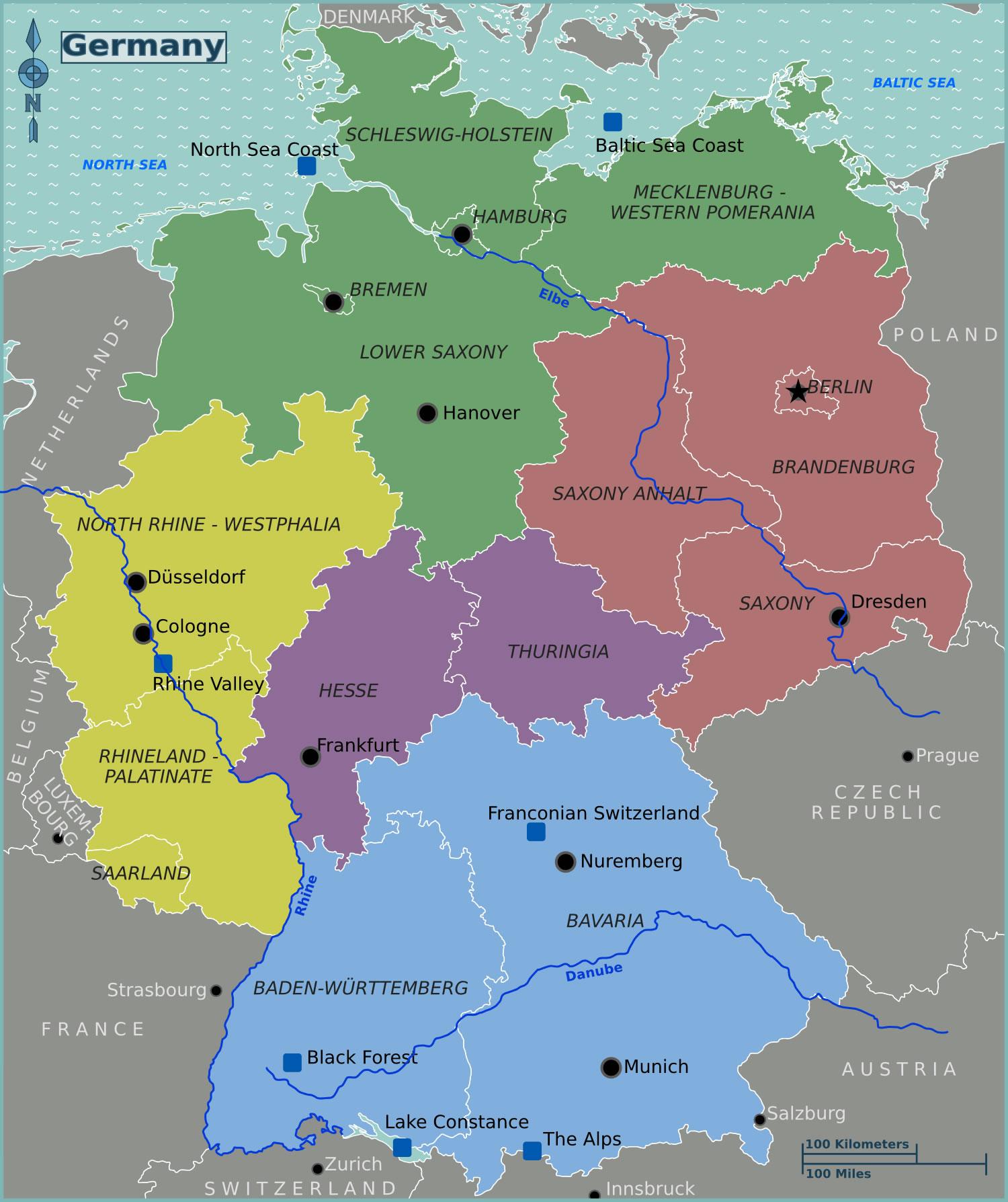 Carte Allemagne Avec Les Villes.Carte Regions Allemagne Couleur Carte Des Regions De L