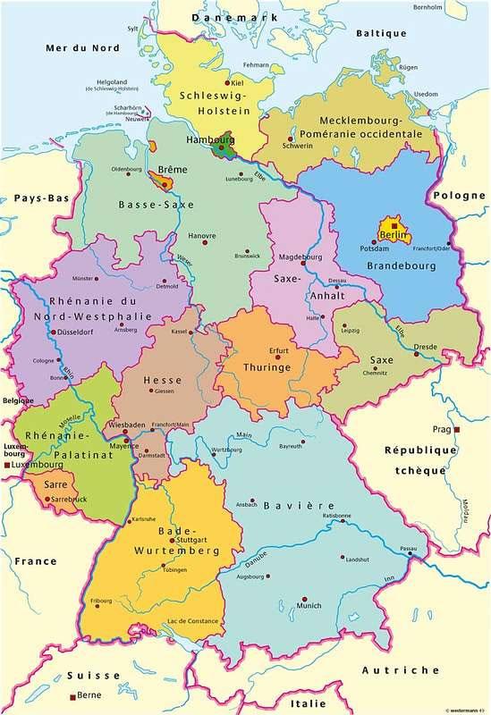 Carte Du Monde Allemagne.Carte Regions Allemagne Carte Des Regions De L Allemagne