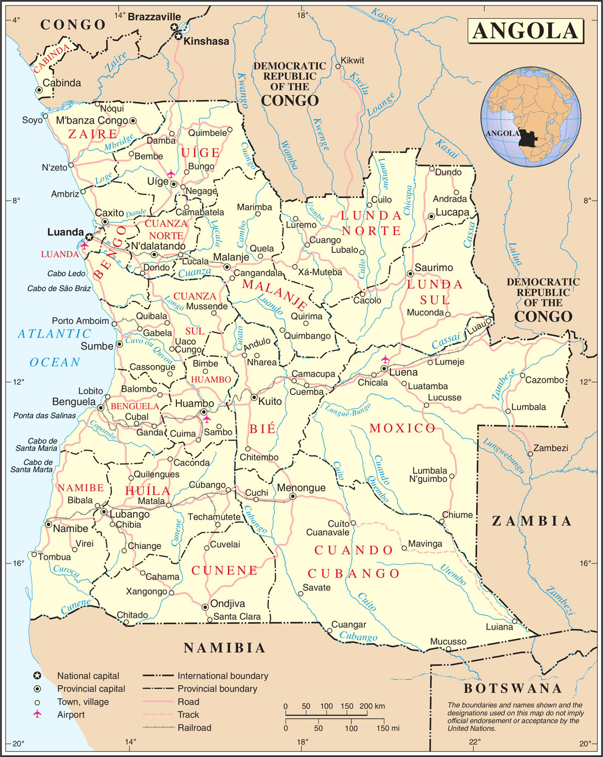 Carte Angola, Carte du pays Angola