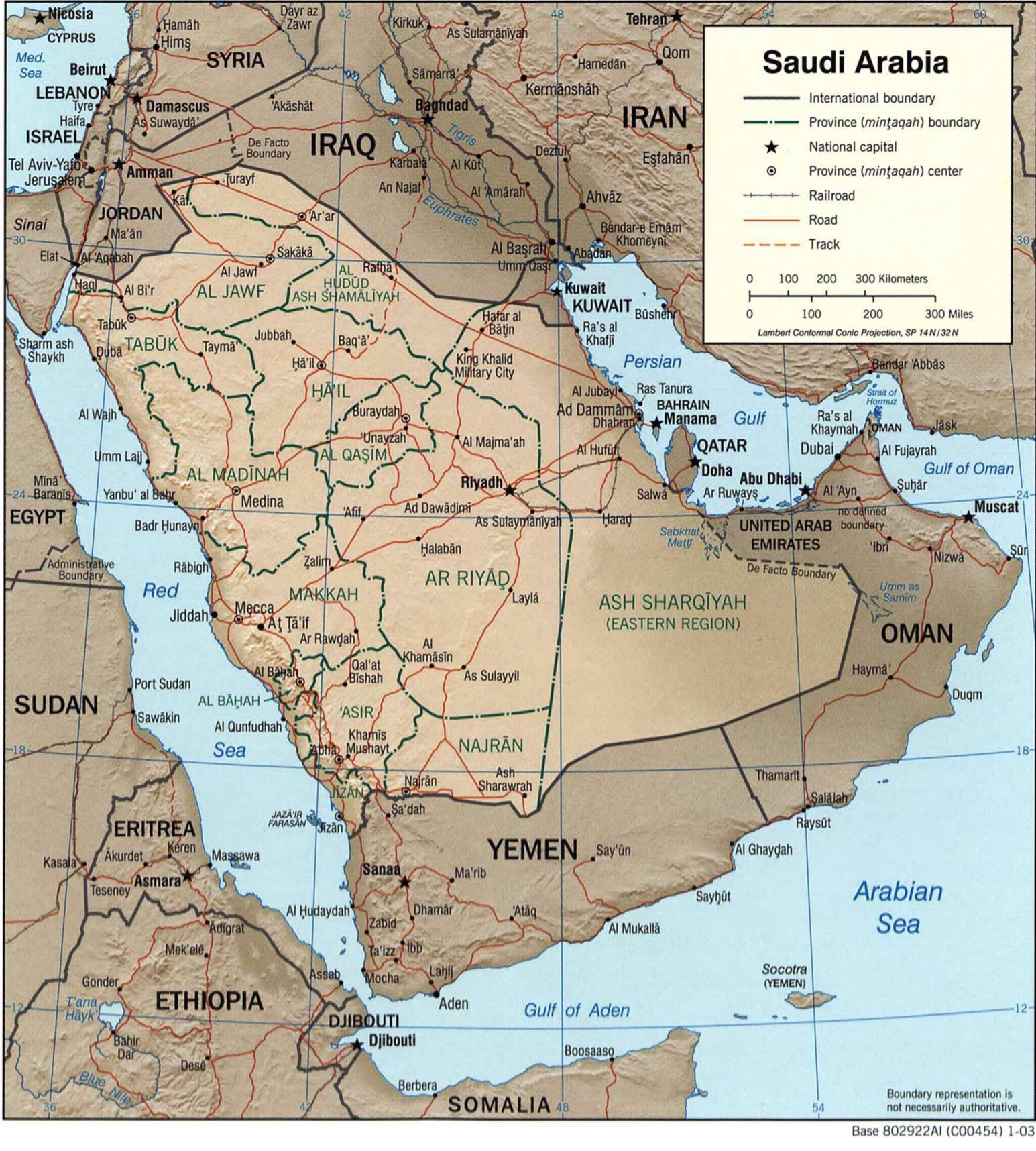 Carte Arabie saoudite, Carte de l'Arabie saoudite