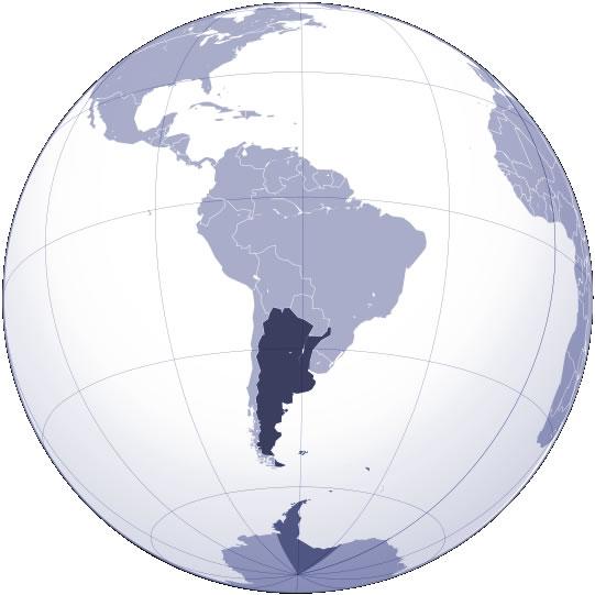 Localiser Argentine sur carte du monde, Localiser pays de