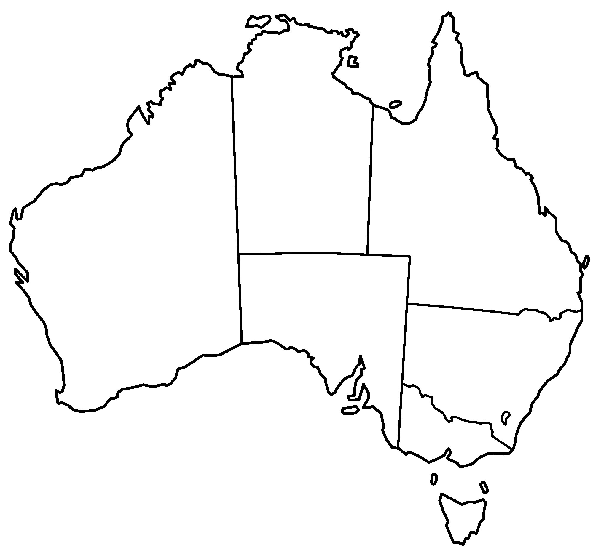 Drawing Lines Shapes Or Text On Bitmaps : Carte australie vierge régions des