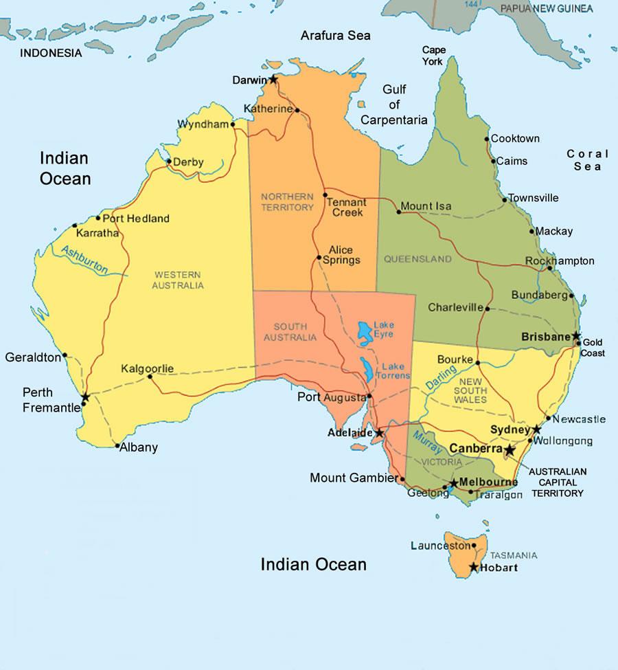 Carte Australie Principales Villes.Carte Regions Australie Carte Des Regions De L Australie