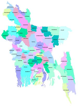Carte départements Bangladesh