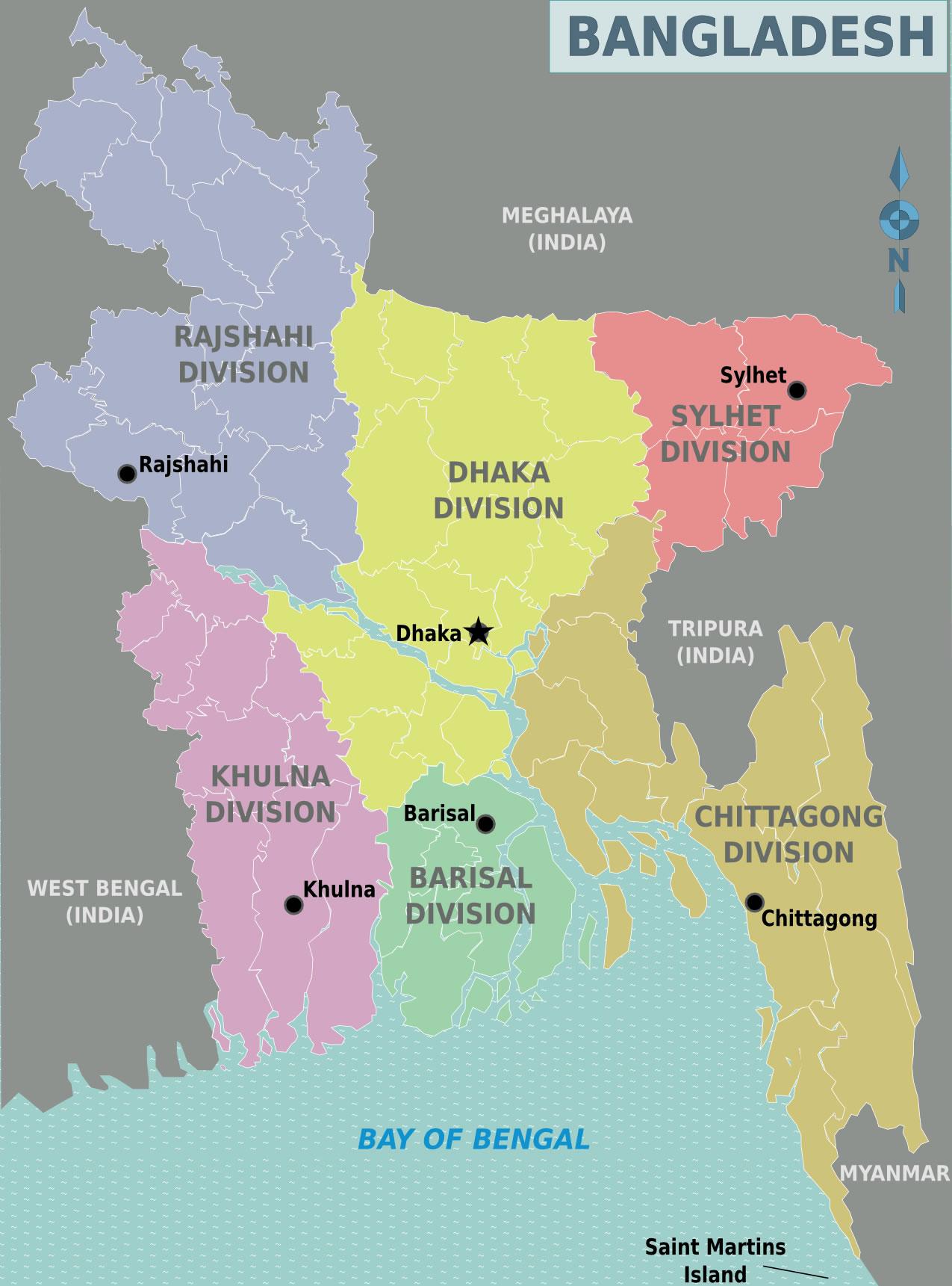 Carte régions Bangladesh, Carte des régions de Bangladesh