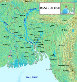 Carte relief Bangladesh