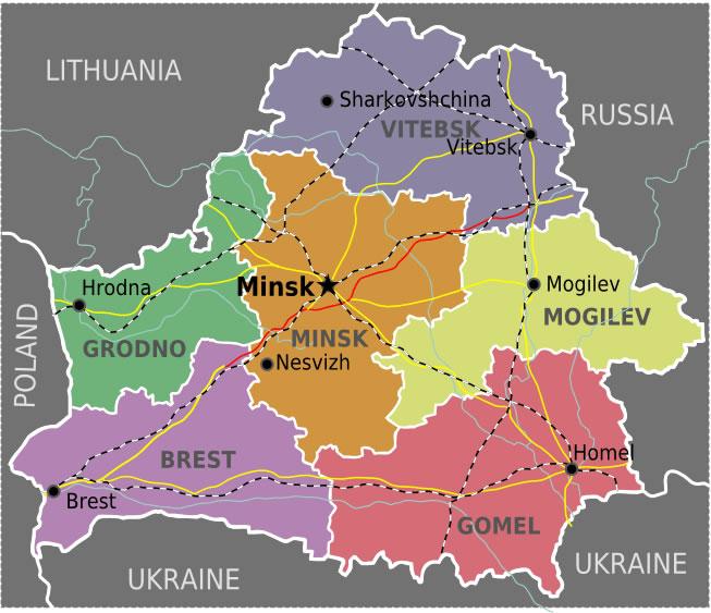 Carte régions Biélorussie couleur, Carte des régions de