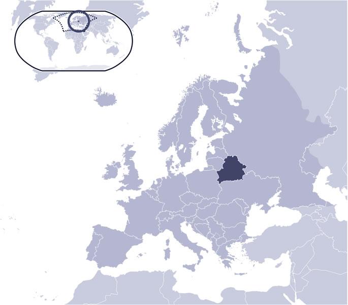 Situer Biélorussie sur carte du monde, Situer pays de Biélorussie