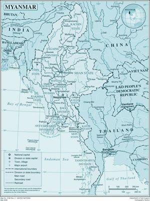 Birmanie Carte Regions.Carte Regions Birmanie Couleur Carte Des Regions De Birmanie En Couleur