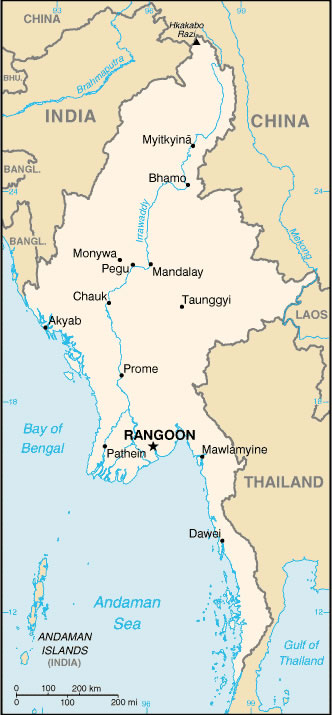 Birmanie Carte Villes
