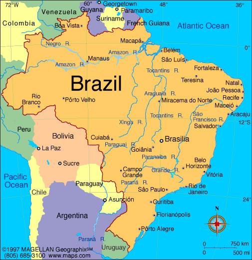 Carte Amerique Latine Avec Fleuves.Carte Fleuves Bresil Carte Des Fleuves Du Bresil