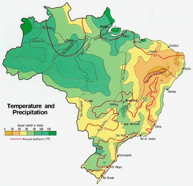 Carte météo Brésil, Carte météo du Brésil
