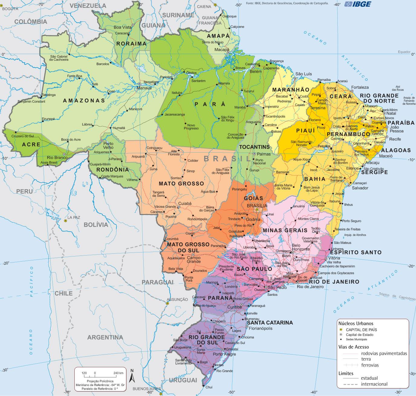 Carte Routiere Bresil.Carte Regions Bresil Carte Des Regions Du Bresil
