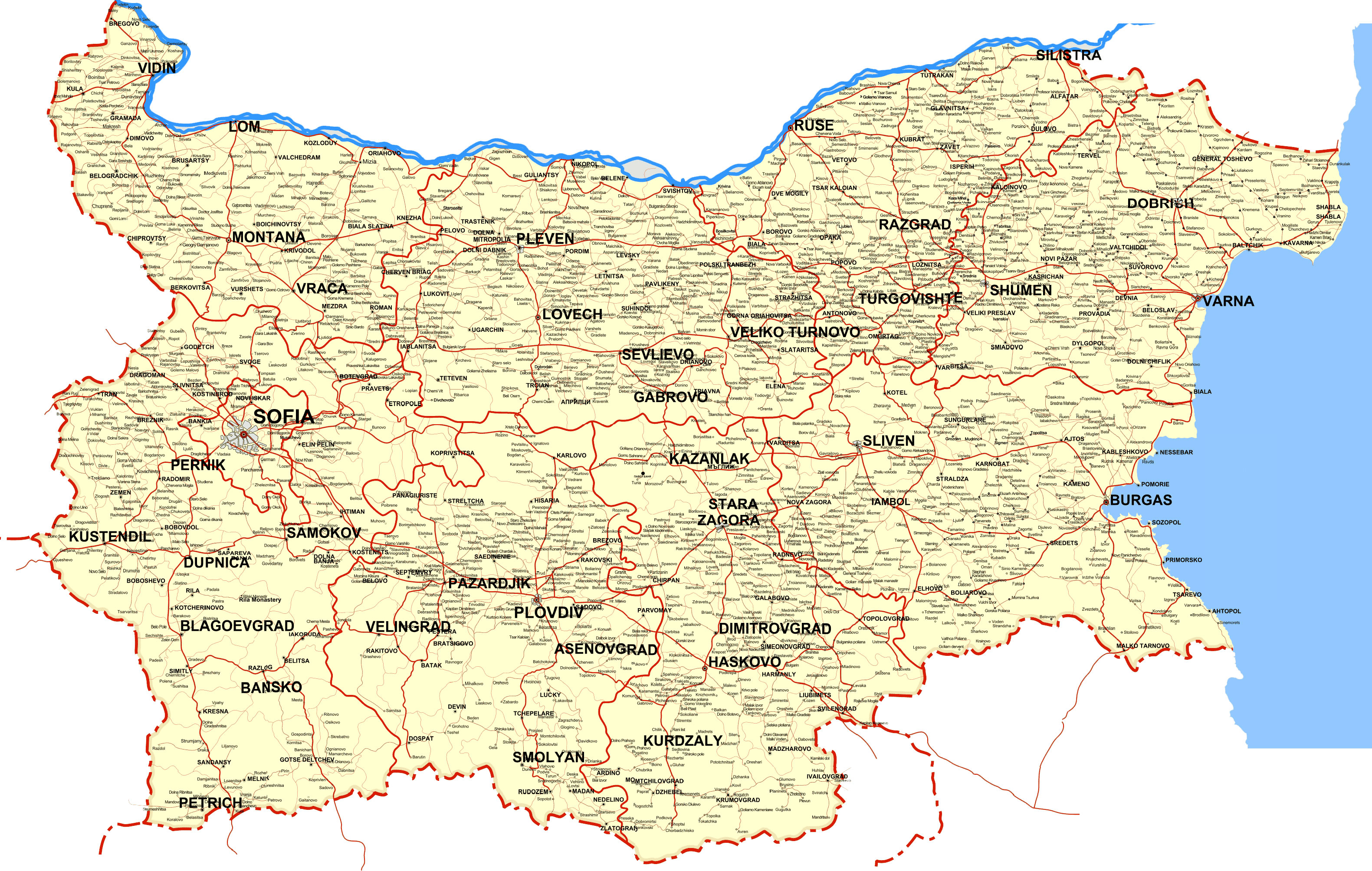 Carte Bulgarie, Carte du pays Bulgarie