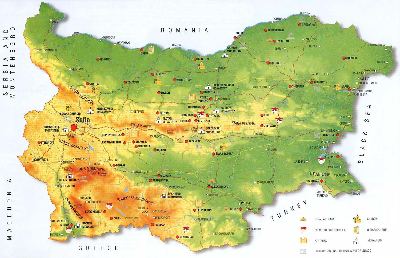 Carte géographique Bulgarie, Carte géographique de Bulgarie
