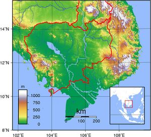 Carte topographique Cambodge