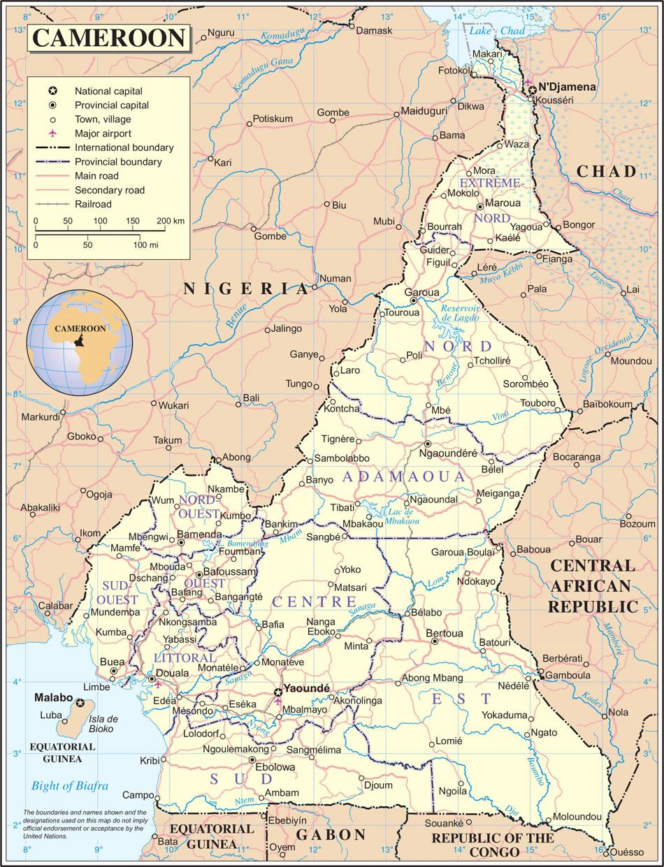 Carte Cameroun, Carte du pays Cameroun