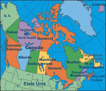 Carte Canada Region.Carte Regions Canada Couleur Carte Des Regions Du Canada En Couleur