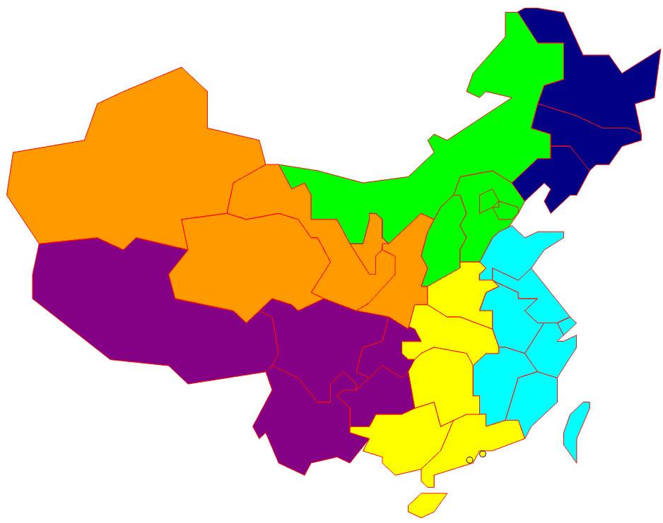Carte chine vierge couleur carte vierge de la chine en couleur - Carte du monde en couleur ...