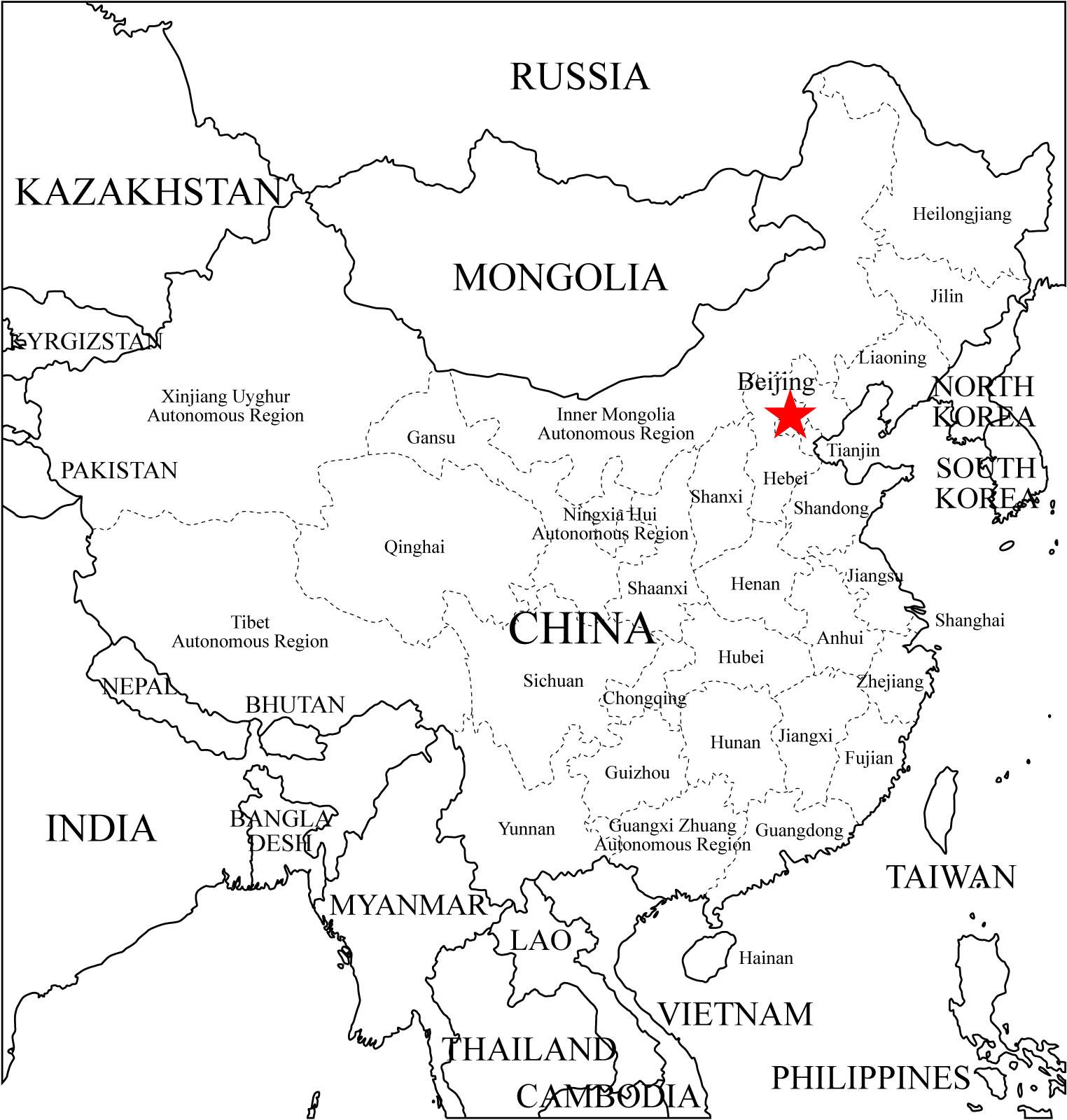 Carte Asie Vierge.Asie Carte Vierge Physique