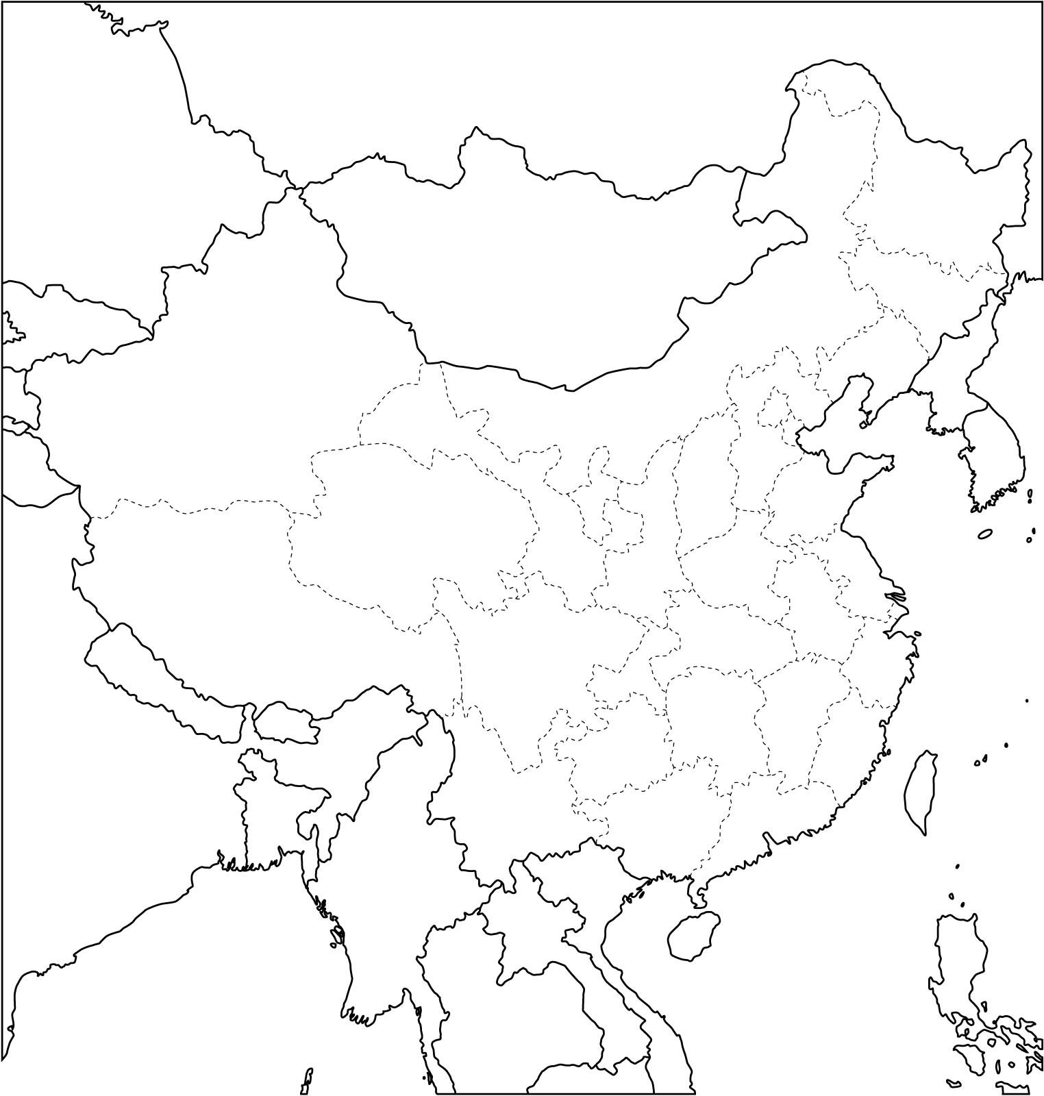 Carte Muette Asie Oceanie.Carte Chine Vierge Carte Vierge De La Chine
