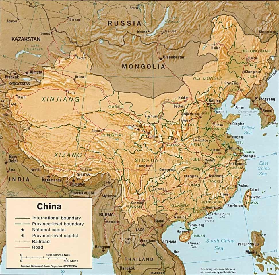 Carte Routiere Chine.Carte Physique Chine Carte Physique De La Chine