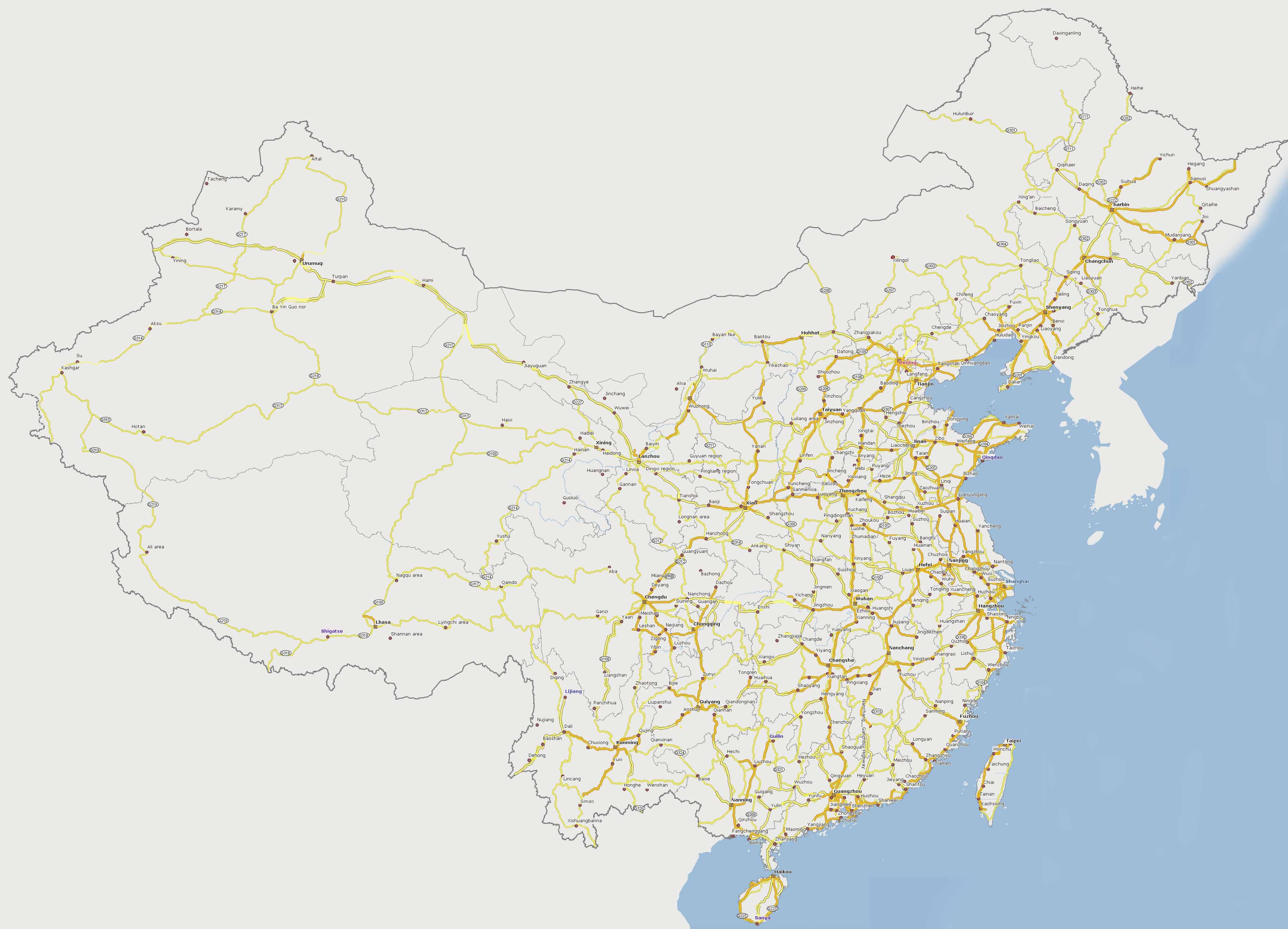 Carte Routiere Chine.Carte Routiere Chine Carte Routiere De La Chine
