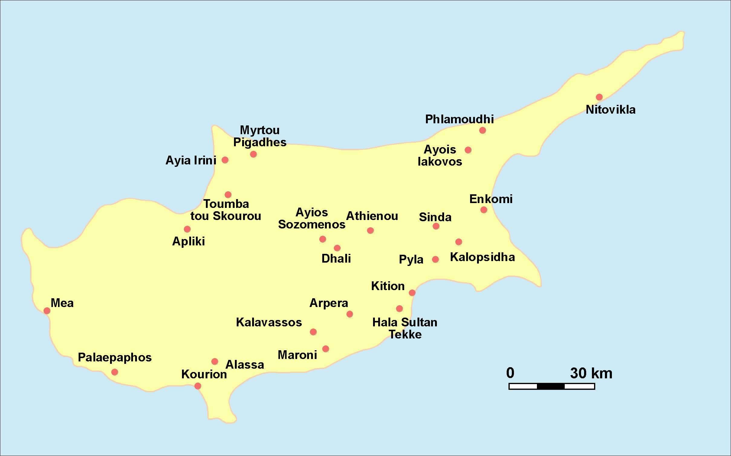 Carte grande villes Chypre, Carte grande villes de Chypre