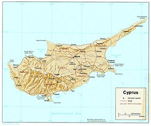 Carte relief Chypre
